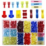 Glarks 400pcs 22-10 Gauge Nylon Heat Shrink Waterproof Electrical Insulated Quick Splice Spade Butt T-Tap Crimp Terminals Connectors Assortment Set