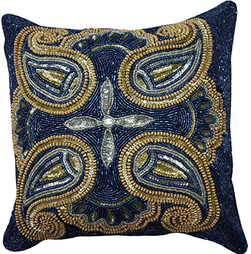 - Mini Paisely Handmade Cushion Covers, Sequins Beaded Spiral Glitter Pillows Cover, 14