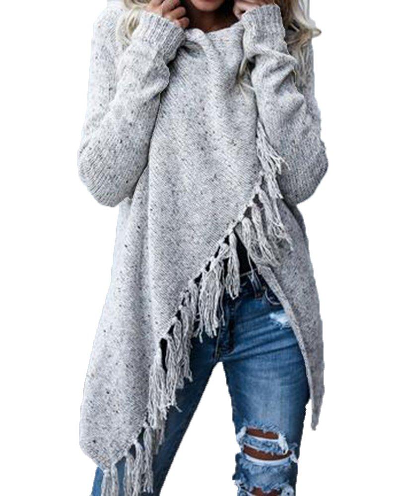 Shele Womens Speckled Fringe Cardigan Tassel Asymmetrical Hem Shawl Heap Collar Casual Sweater Poncho