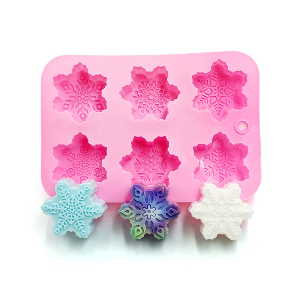 Cdet 1X Cake Mold Pink Christmas Snowflake Muffin Cup Soap Mould Biscuit Chocolate Ice Fondant Baking Tool