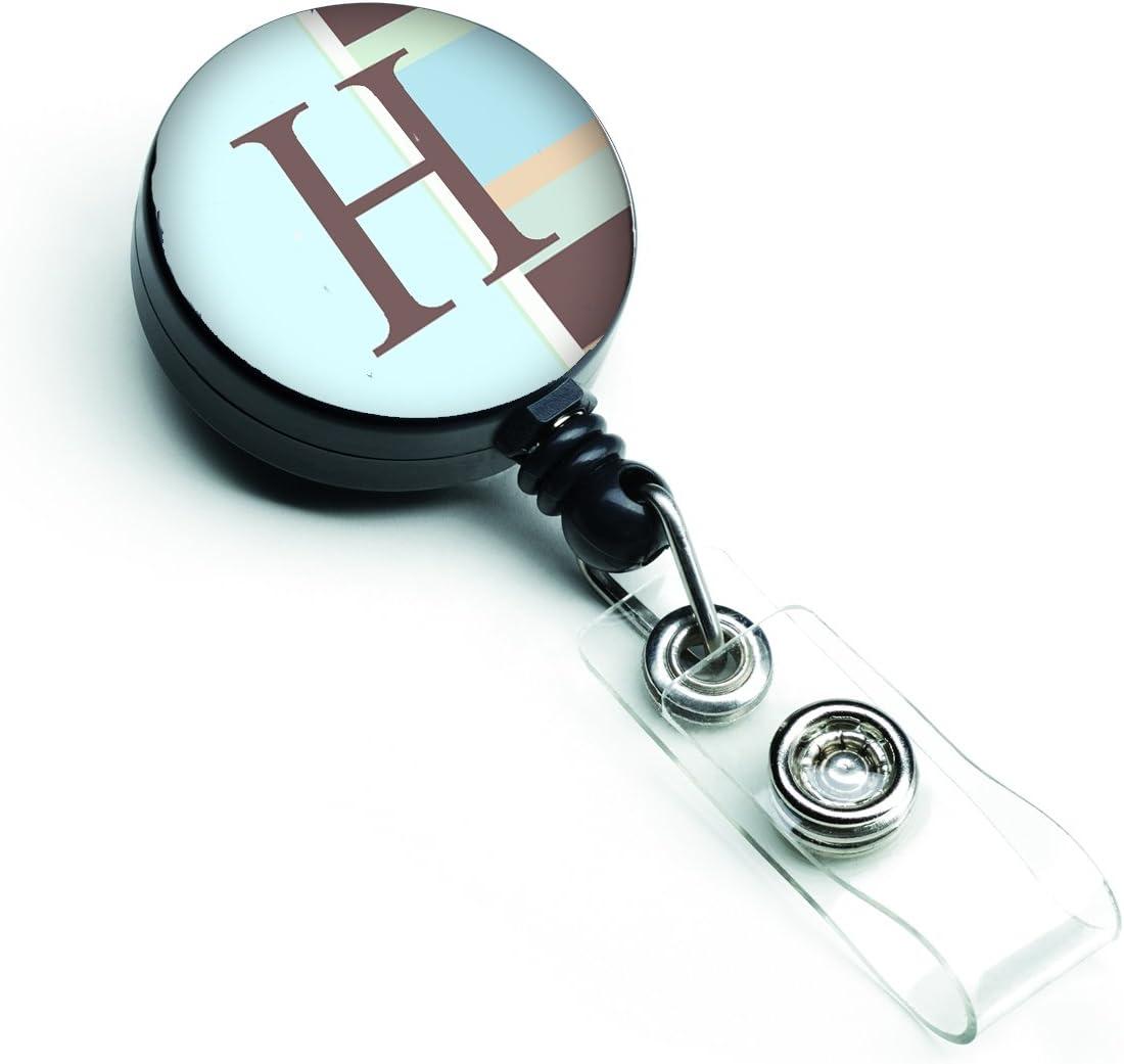 Blue Stripes Retractable Badge Reel Carolines Treasures Letter H Initial Monogram CJ1003-HBR Multicolor