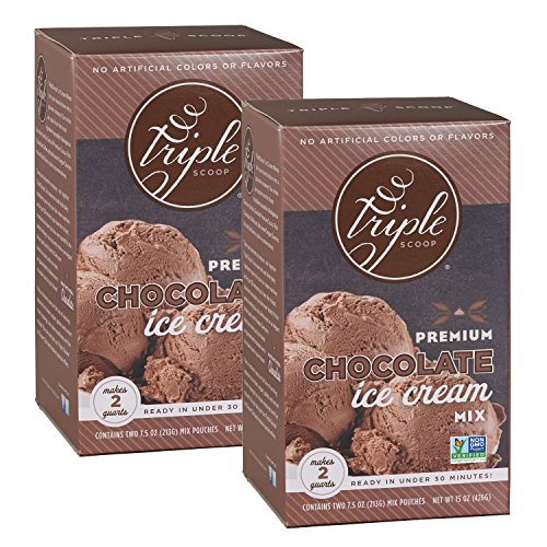 Triple Scoop Ice Cream Mix, Premium Chocolate, starter for use with home ice cream maker, non-gmo, no artificial colors or flavors, ready in under 30 mins, makes 4 qts (2 15oz boxes) (Best Ice Cream Scoop Ever)
