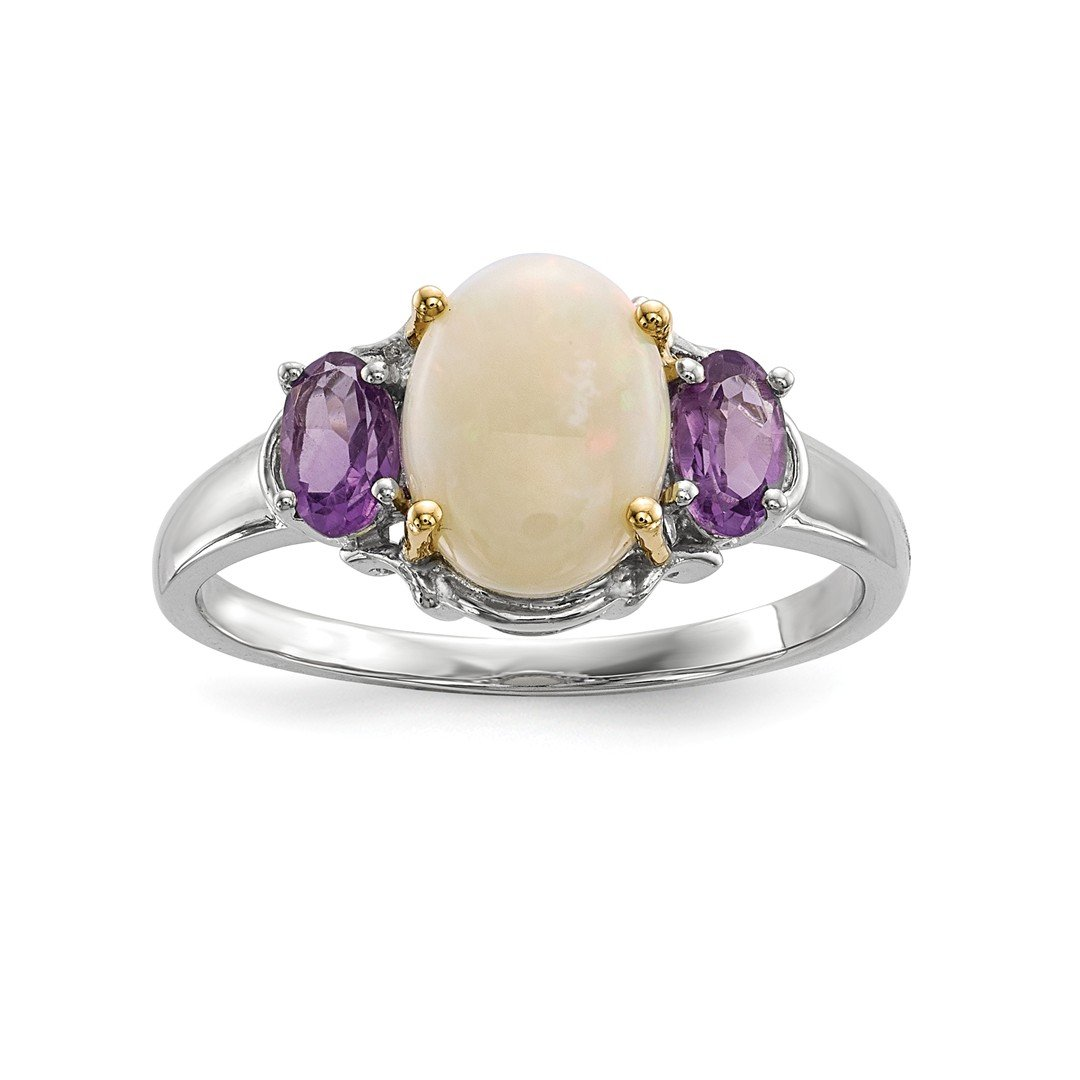 ICE CARATS 925 Sterling Silver 14k Opal Purple Amethyst Band Ring Size 6.00 Stone Gemstone Fine Jewelry Gift Set For Women Heart