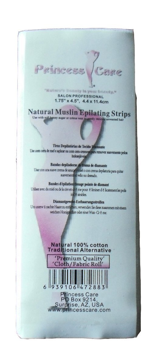 Amazon.com : Princess Care Natural Muslin Epilating Wax Strips Small 100 Pack (1.75
