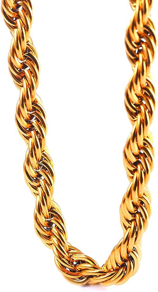 De Alta Calidad Hip Hop Soga Cadena Acero Inoxidable Chapado en Oro 18K 10 Mm x 30 in approx. 76.20 cm