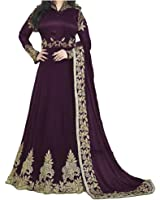 ARYAN FASHION latest Indian Beautiful Violet Embroidered Work Long Anarkali Suit Semi-Stitched Suit ( Bottom Unstitched)