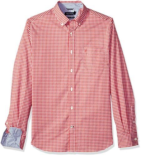 Nautica Men's Ls Wrinkle Resistant Stretch Poplin Plaid Button Down Shirt, Sailor Red, XX-Large