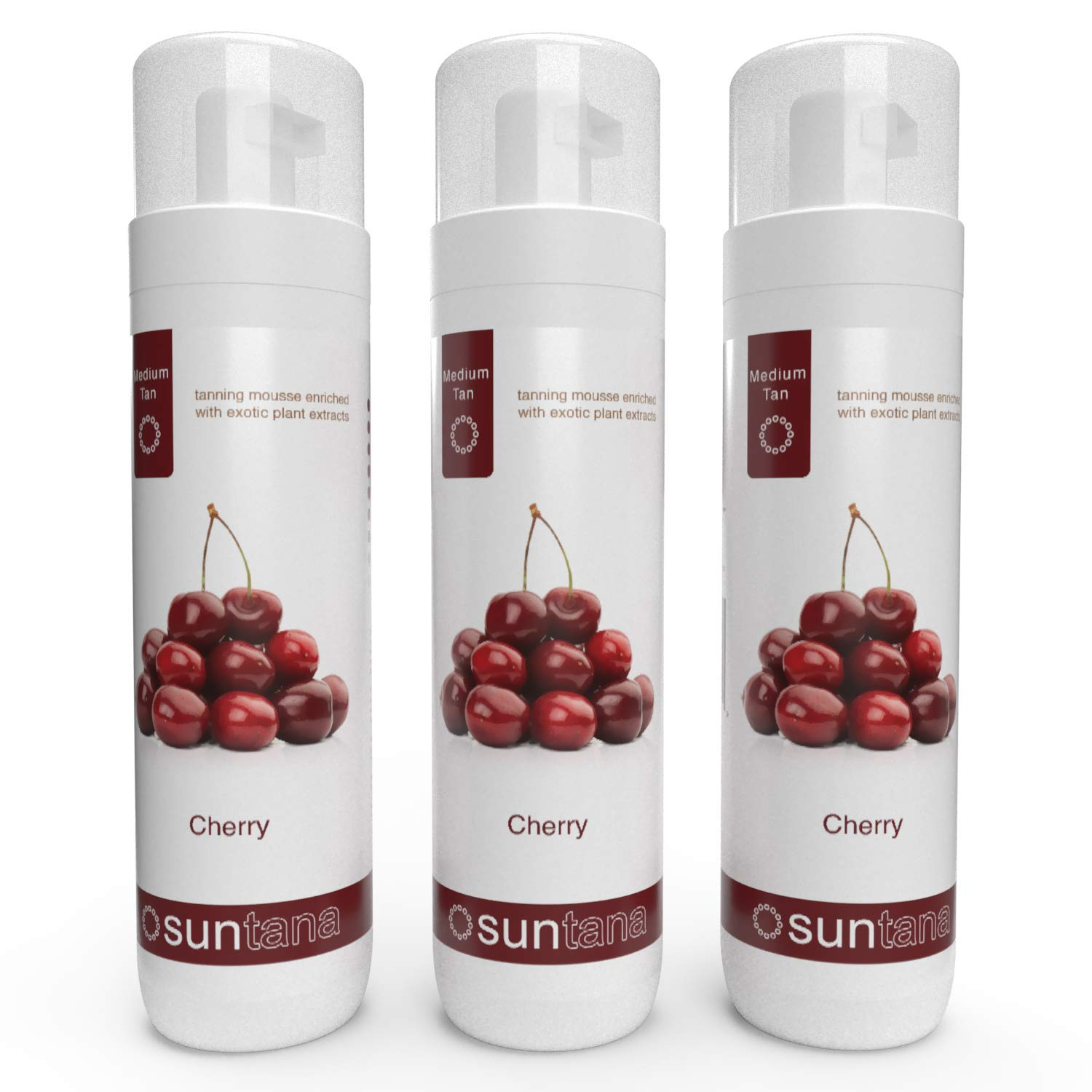3 x Suntana Cherry Fragranced 10% Sunless Self Tanning Mousse - Medium Tan by Suntana