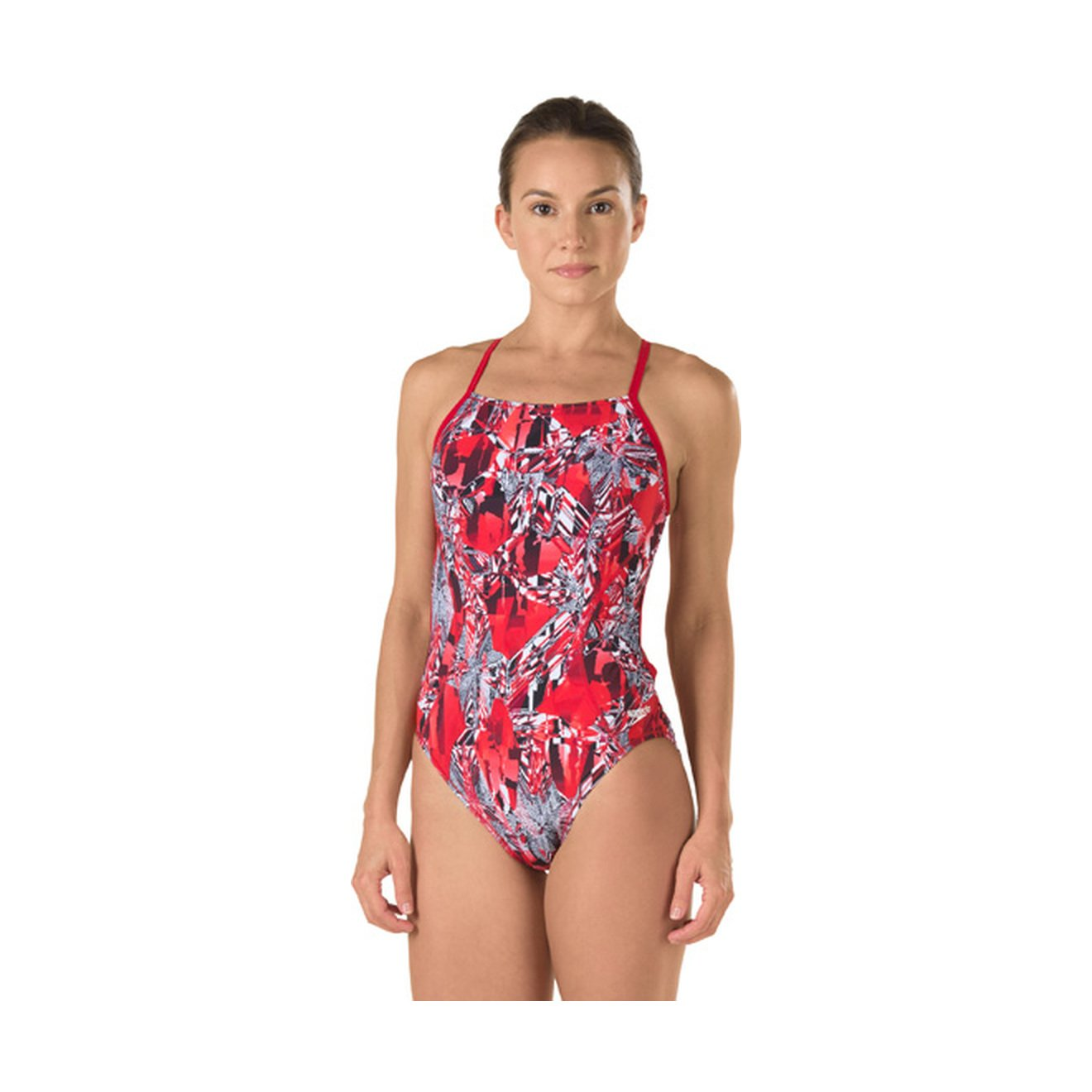 Speedo Big Girls' Youth Solid Splice Cross-Back One-Piece Swimsuit Speedo Girls 7-16 7142072