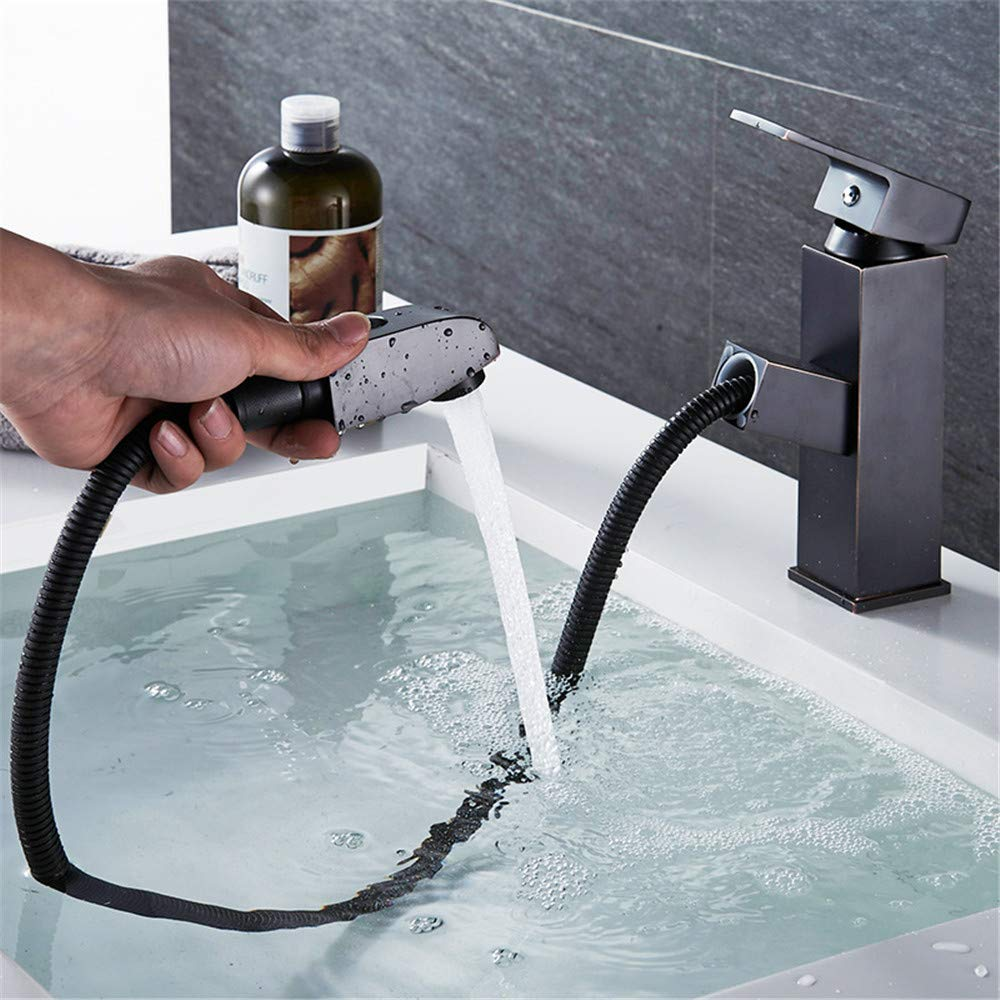 YAWEDA Kupfer-Bassin-Hahn mit ausziehbarer Dusche Wasserhahn Waschbecken Wasserhahn Kaltwasser-Mixer Retractable Shampoo Schwarz einzigen Handgriff, Schwarz Alte Dwarf