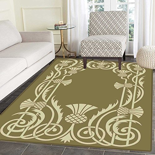 Art Nouveau Rugs for Bedroom Floral Border with Tropical Pineapple Fruits Leaves Retro Style Swirls Circle Rugs for Living Room 4'x5' Sepia Sage Green