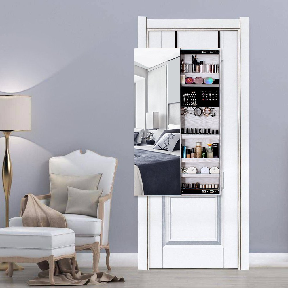 NEX Door Wall Mounted Jewelry Armoire Makeup Storage Organizer with Real Glass Mirror - White by NEX (Image #7)