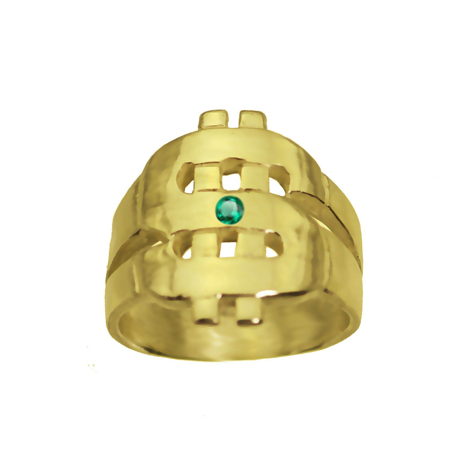 prince of diamonds DOLLAR 24K Gold Plated Money Sign Ring Emerald good Luck Rich Wealth New Jewelry