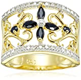 Yellow Gold-Plated Sterling Silver Sapphire Flower Ring, Size 7