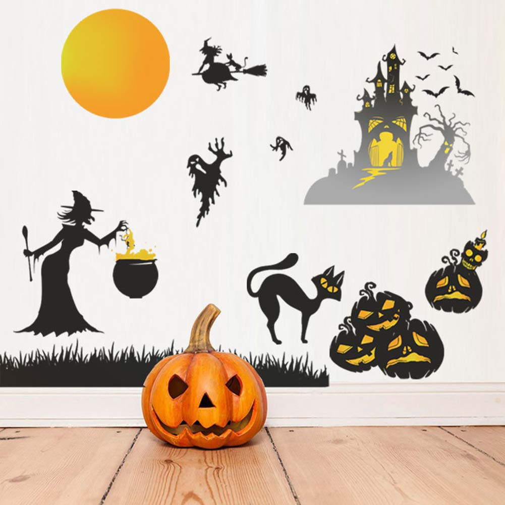 Happy Halloween Wall Stickers, Cemetery Castle Moon Cats Ghost Witch and Bats Wall Decals, Pumpkins Spooky Skeleton for Living Room Window Clings Halloween Party Decoration,Vinyl Gothic Wall Decor