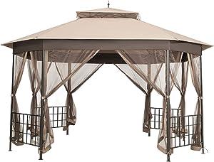 Tangkula 10 x 12 Ft Patio Gazebo, Heavy Duty Octagonal Gazebo Canopy w/Netting Sidewalls & Sturdy Steel Frame, Double Roof Vented Gazebo Canopy Shelter for Backyard Event Party BBQ (Brown)