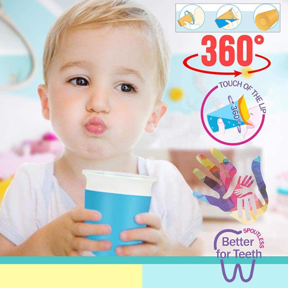 Azul A 360 Grados, antiderrames, a Prueba de mordiscos, para Entrenamiento de beb/és Taza de Viaje antigoteo Weiyi0765