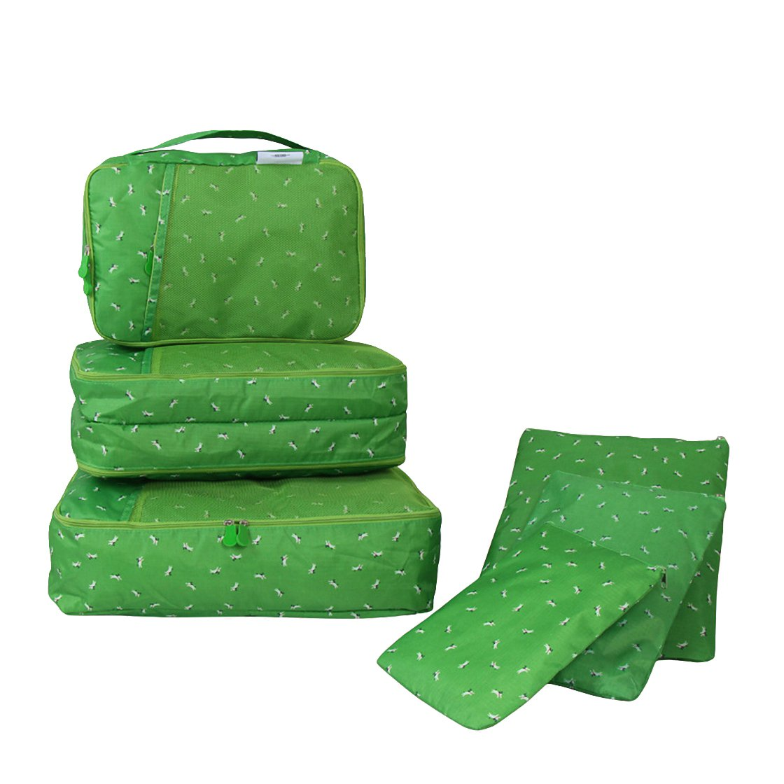 Travel Packing Organizers - Clothes Cubes Shoe Bags Laundry Pouches For Suitcase Luggage, Storage Organizer 6 Set Color Green