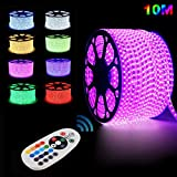 GreenSun 10M Flexible 5050 LED Rope Strip Lights RGB Remote Colour Changing 60leds/m Waterproof Xmas Home and Garden Clear PVC Tubing Rope Light with 24Key Remote Controlle