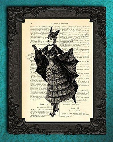 Evening Vampire Costumes (Vampire bat lady in black and white artwork, Halloween costume decorations art print on original antique paper)