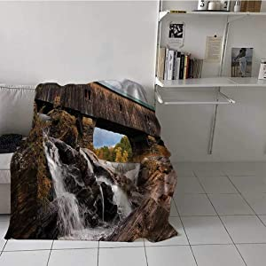 Blanket Warm Apartment Decor Higher End Throws Blanket Old Rustic Oak Covered Bridge Over Cascading Waterfalls Rock Fall Season American Cityscape Perfect for Cover The Sofa Brown 60x80 Inch
