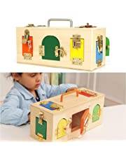 Flameer Montessori Teaching Aid Practical Material Wooden Lock Box for Children Early Educational Learning Toys IQ Puzzle Game Kids Gift