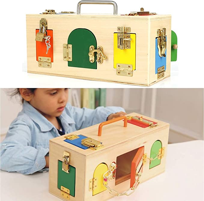 D DOLITY Montessori Caja de Cerradura de Madera Juguete Educativo ...