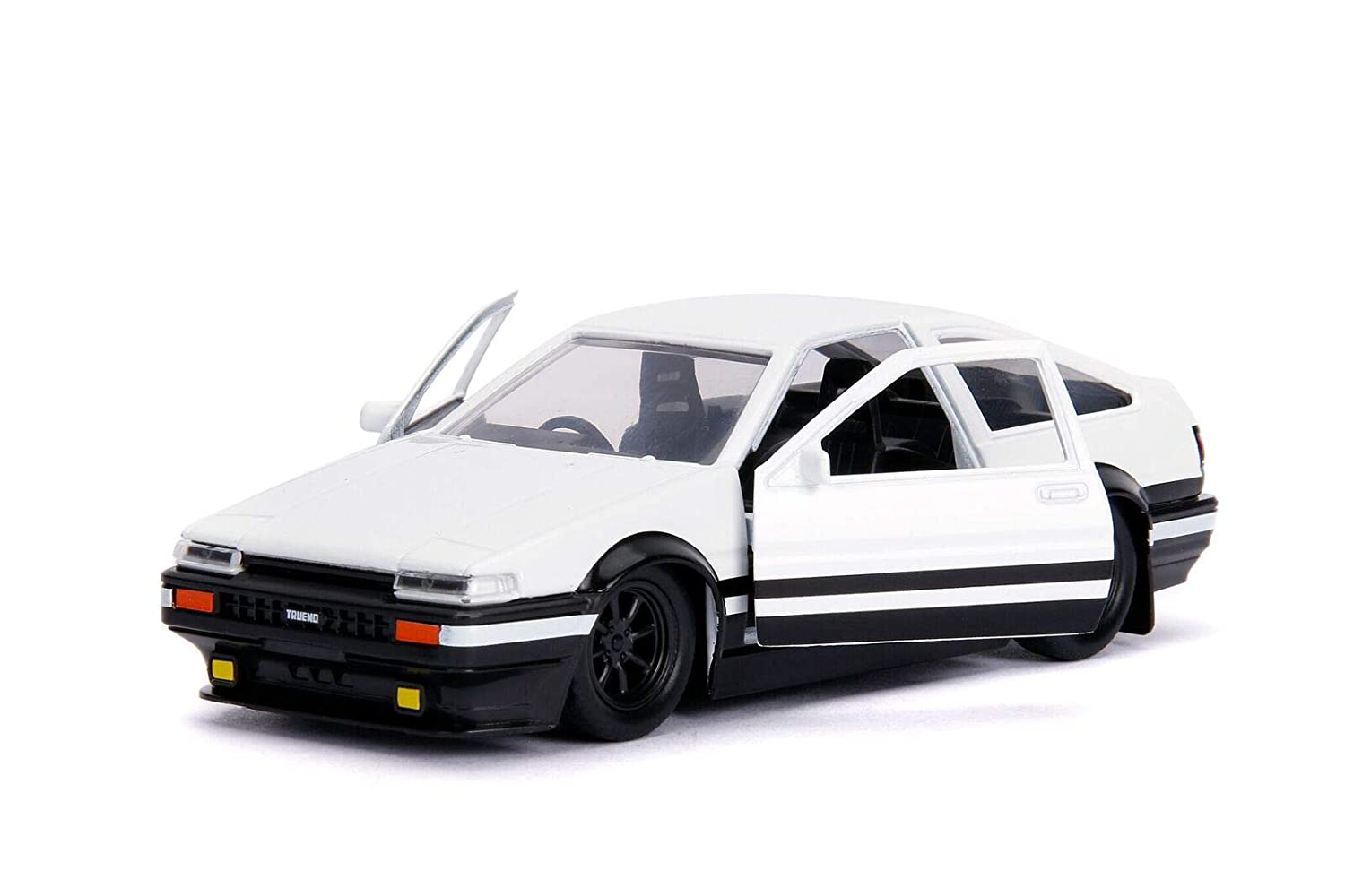 Jada Toyota Trueno Ae86 White Black Bottom Initial D First Stage 1998 TV Series Hollywood Rides Series 1 32 Diecast Model Car 99801
