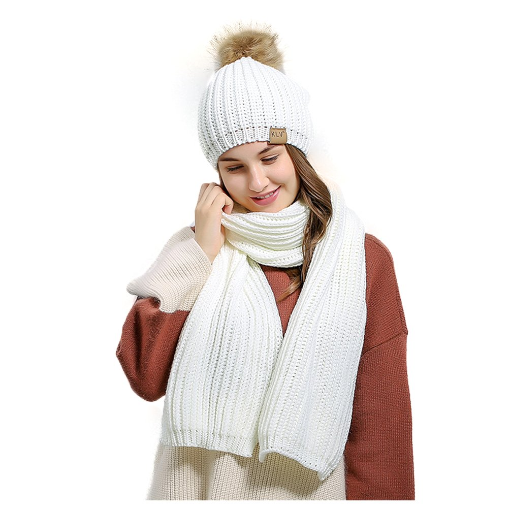 Jelinda Women's Autumn Winter Warm Knitted Hat and Scarf Set (Style 2 - White)