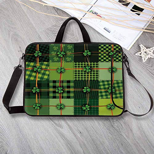 Irish Portable Neoprene Laptop Bag,Patchwork Style St. Patricks Day Themed Celtic Quilt Cultural Checkered with Clovers Decorative Laptop Bag for Travel Office School,15.4