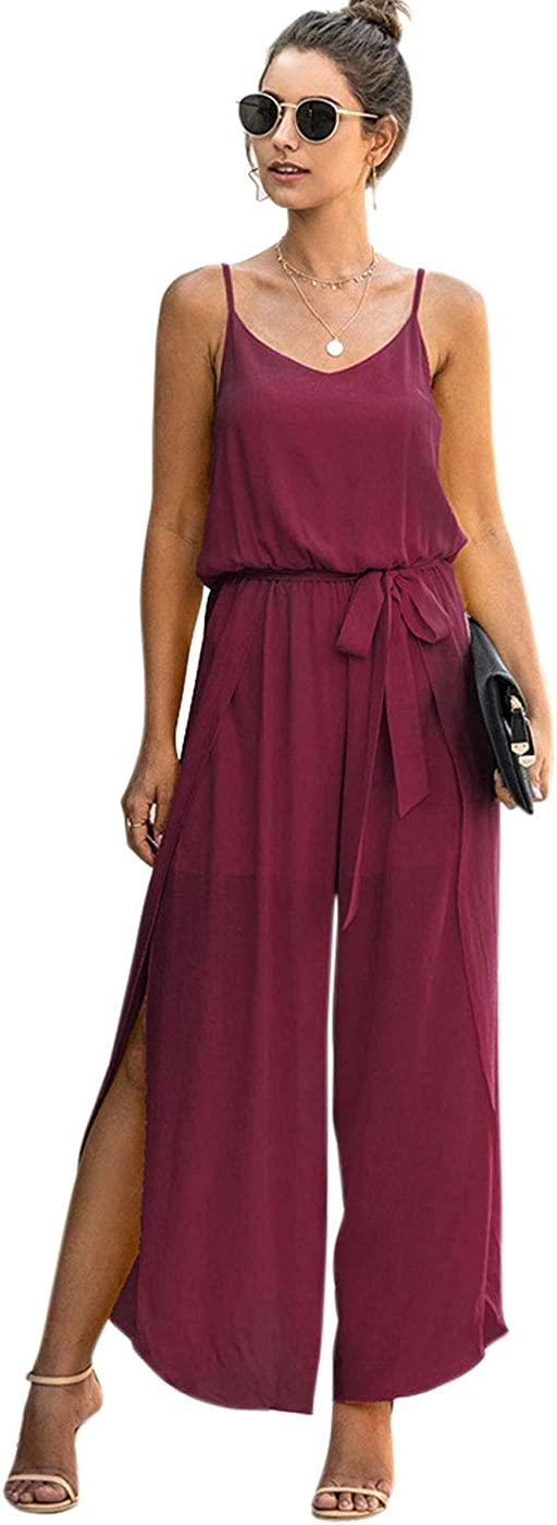 PICK YOUR LOOK Women's Casual Loose Jumpsuit Spaghetti Strap, Side Split Wide Leg Romper Tie Waist Solid Outfit