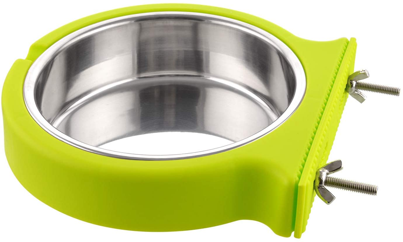 Crate Dog Bowl Removable Stainless Steel Water Food Feeder Bowls Cage Coop Cup for Cat Puppy Bird Pets (Large, Green with Corrugated Clip)