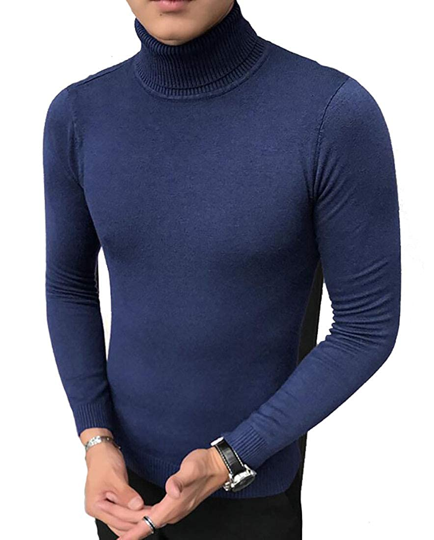 Nanquan Men Knitted Turtleneck Slim Fit Pullover Thermal Sweaters Tops