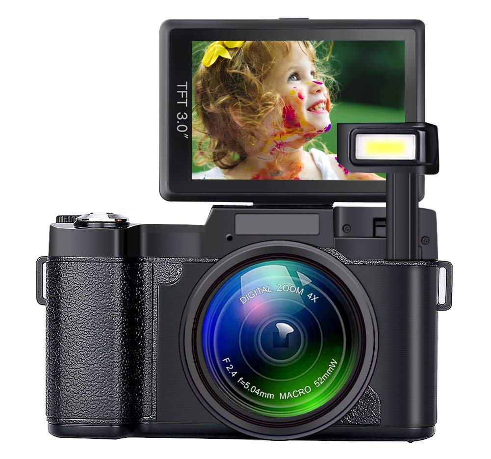 SEREE Digital Camera Camcorder Full HD 1080P 24 Megapixels Vlogging Camera 4X Digital Zoom Retractable Flash Light 3 inch Screen