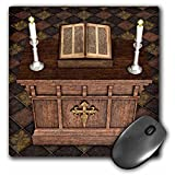 3dRose LLC 8 x 8 x 0.25 Inches Mouse Pad, Medieval Altar and Bible (mp_62969_1)