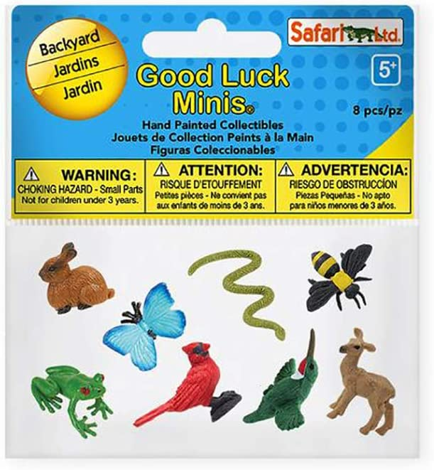 Safari Ltd. Good Luck Minis Collection - Backyard Animal Figures 8 Pieces - Non-toxic and BPA Free