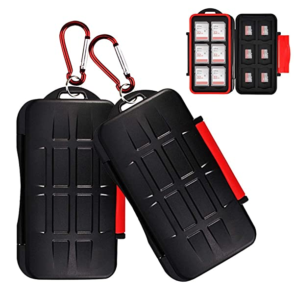 2 Pack Kiorafoto 24 Slots Memory Card Case Holder for 12 SD SDHC SDXC Cards + 12 TF MSD Micro SD Cards Professional Water-Resistant Anti-Shock Storage Protector Organizer, with Carabiner (Color: 2 Pack for 12 SD + 12 Micro SD)