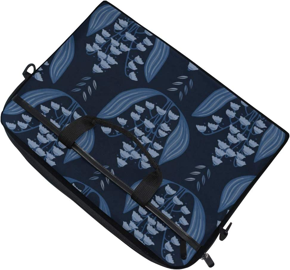 Briefcase Messenger Shoulder Bag for Men Women Laptop Bag Indigo Blue Lily Valley 15-15.4 Inch Laptop Case College Students Business People Office