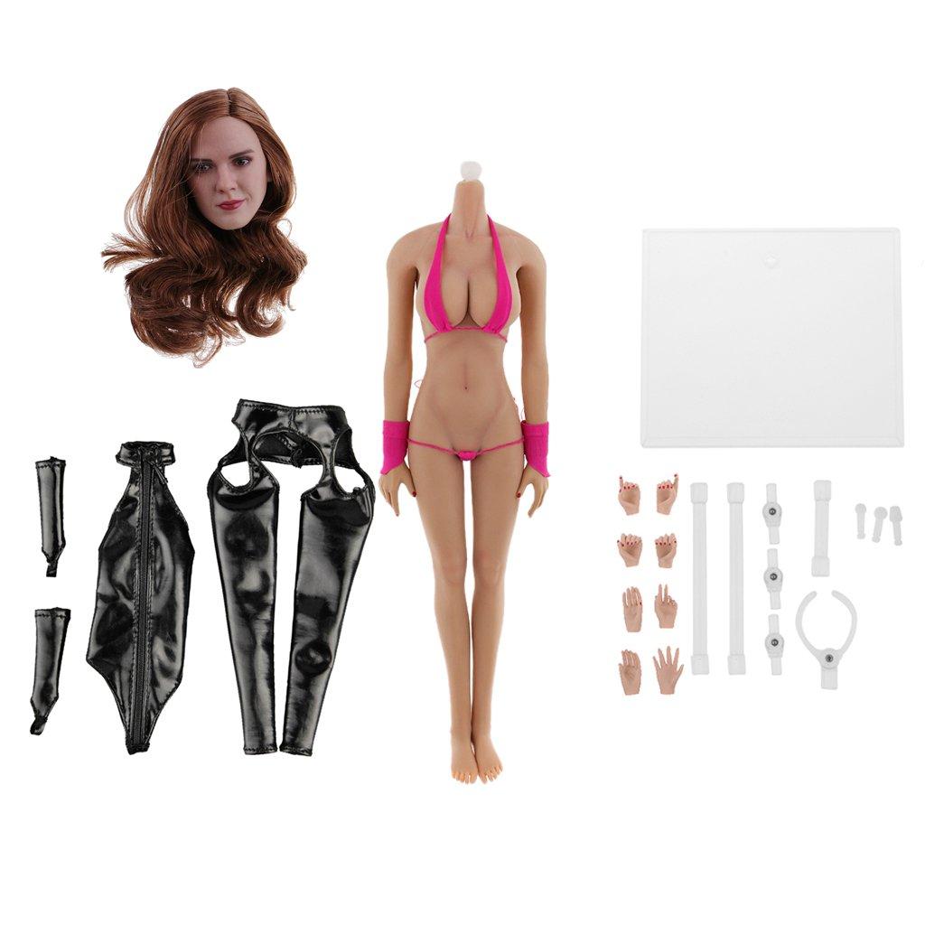Sharplace 1 6 Weißlicher Nahtloser Aktion Figur Körper Modepuppe mit Zubehör Set