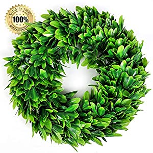 LASPERAL 17″ Artificial Green Leaves Wreath Eucalyptus Wreath Boxwood Wreath Round Green Wreath Outdoor Green Wreath Front Door Wall Window Party Décor