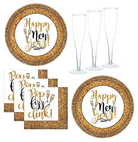 New Years Party Supplies Black And Gold Glitter Appetizer/Dessert Plates And Napkins With Champagne Flutes Serves 18 Guests