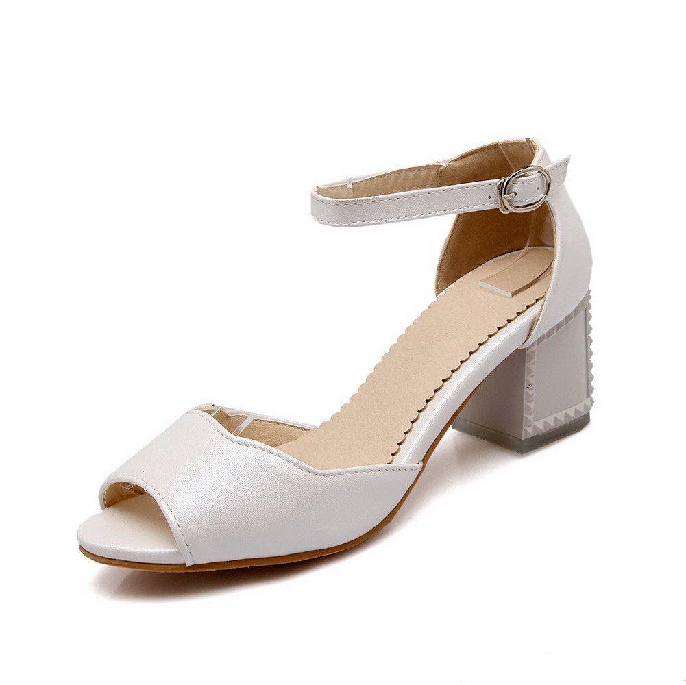 AllhqFashion Women's Buckle Peep Toe Kitten-Heels PU Solid Sandals, White, 36 by AllhqFashion