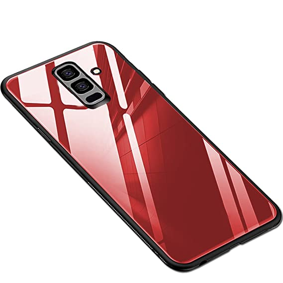best website c494e 56c80 TheGiftKart Luxurious Toughened Glass Back Case with Shockproof TPU Bumper  Back Case Cover for Samsung Galaxy J8 / On8 Infinity (Red)