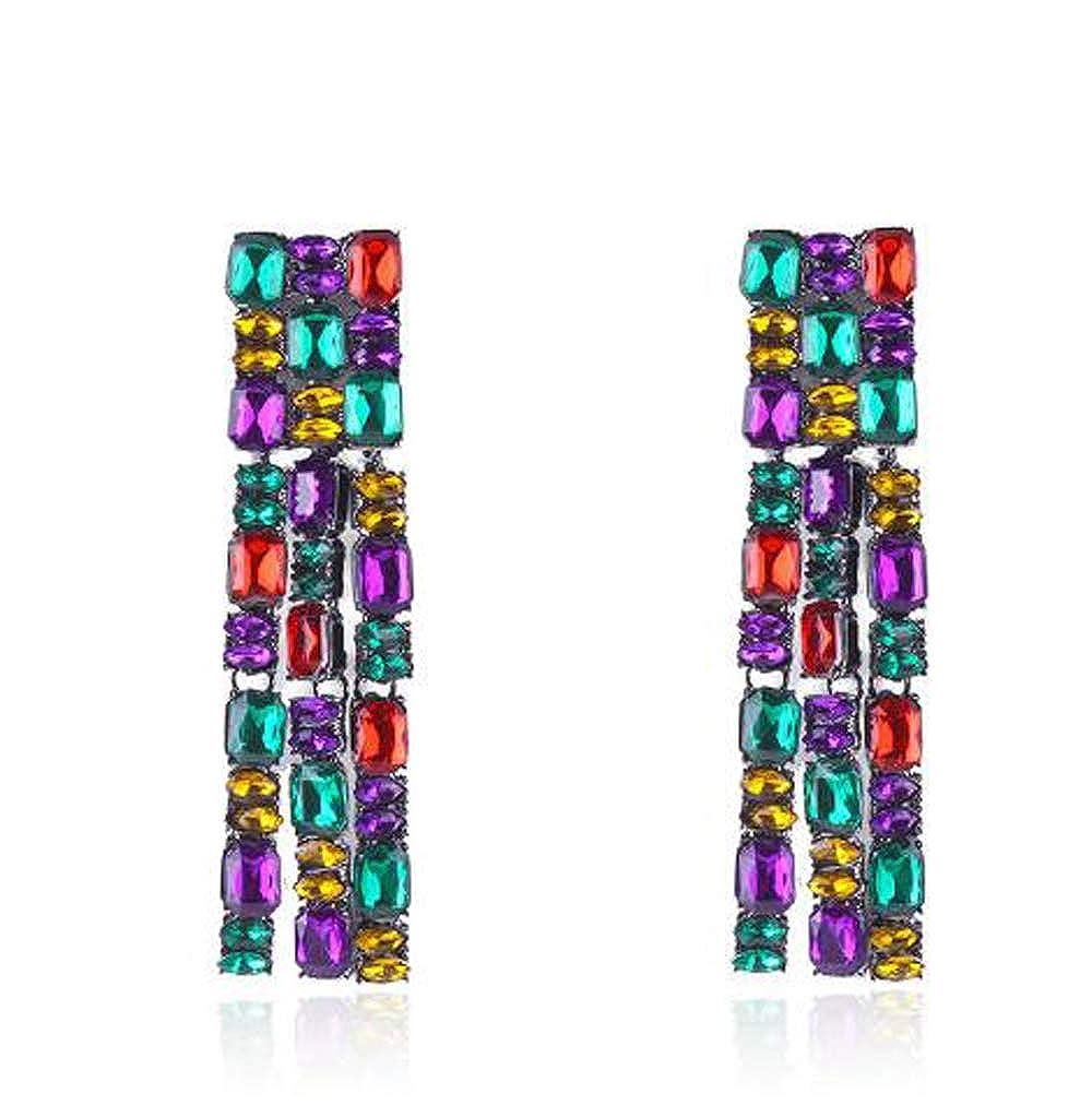Hogadget Women Sparkling Long Tassel Crystal Rhinestone Drop Rectangle Dangle Bridal Earrings