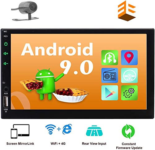 EINCAR Android 9.0 Car Stereo with GPS Navigation Double 2 Din In Dash Head Unit Bluetooth 4.0 7 Capacitive Touchscreen Rear View Camera Included Quad Core WIFI 4G FM AM RDS Radio Remote Controller