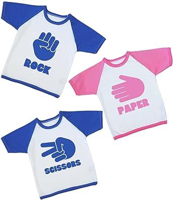 af6803e09 BabyPrem Baby Toddler 3 T Shirts Tees Triplet Clothes Rock Paper Scissors 2  Blue 1 Pink