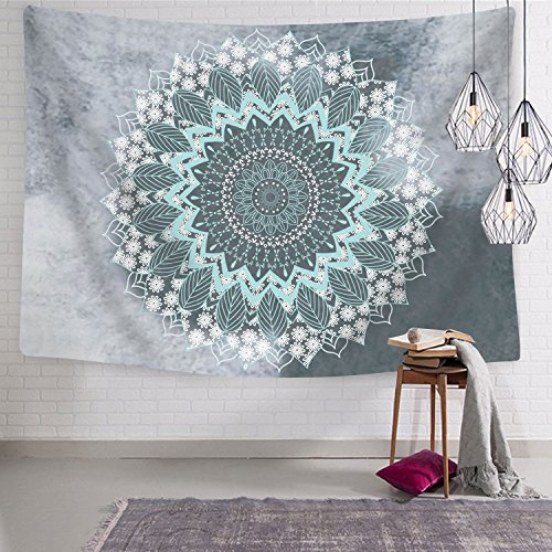 BLEUM CADE Tapestry Mandala Hippie Bohemian Tapestries Wall Hanging Flower Psychedelic Tapestry Wall Hanging Indian Dorm Decor for Living Room Bedroom (Teal, 51.2 x 59.1 inches)