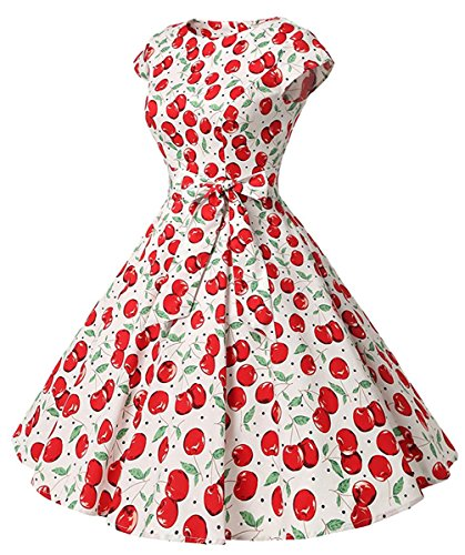 ZOEREA Floral Cocktail Dress Vintage Ruffle Evening Party Casual Dress for Women (Small, (Cherry Halter Dress)