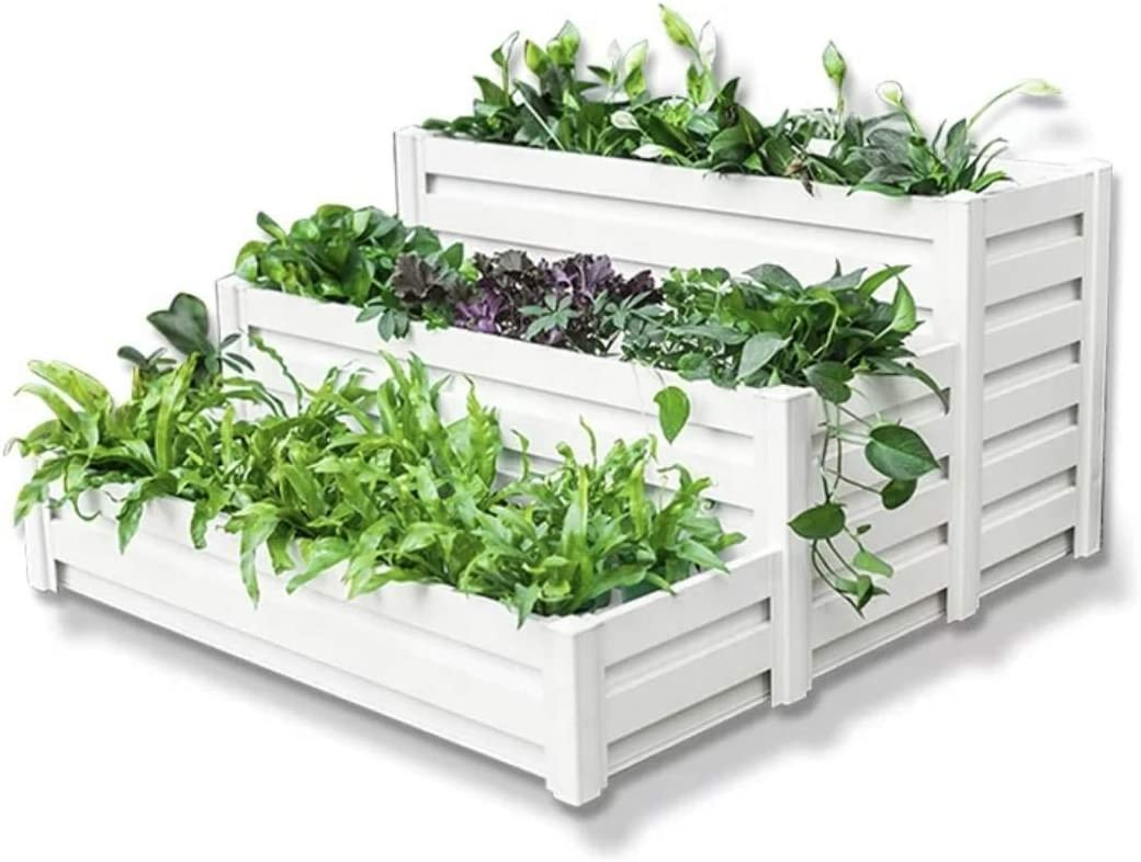 HEGEMONE Co. Tiered Raised Elevated Garden Bed Planter Box | for Organic Herbs, Vegetables, Plants, Flowers | Outdoor Planters Kit Stand | Screwless Easy to Assemble | Heavy-Duty Non-Toxic (Aluminum)