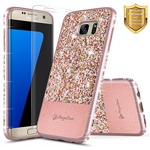 Galaxy S7 Edge Case w/[Screen Protector HD Clear], NageBee Glitter Shiny Diamond Bling Crystal Ultra Slim Protective Soft TPU Leather Cover Case Designed for Samsung Galaxy S7 Edge G935 -Rose Gold
